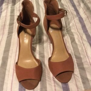 Brown suede high heels
